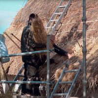 adding-thatch-bundles-to-roof